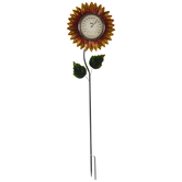 Sunflower Thermometer Metal Garden Stake