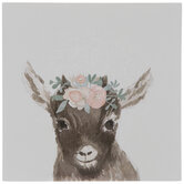 Floral Baby Goat Wood Decor