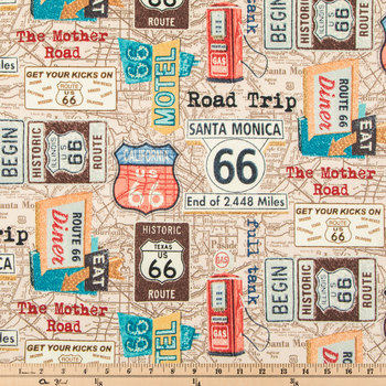 Route 66 Duck Cloth Fabric