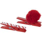 Red Striped & Pom Pom Gift Tag Clips