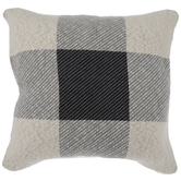 Gray & Tan Check Knit Pillow Cover