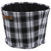 Black & White Plaid Round Canvas Basket