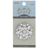 Iridescent Rhinestone Flower Button - 39mm