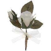 Ivory Fabric Rose Corsage
