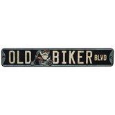 Old Biker Boulevard Metal Sign