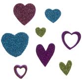 Bright Glitter Heart Foam Stickers