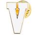 White Letter Metal Pin - V