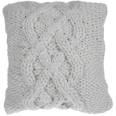 White Chunky Yarn Knit Pillow Cover