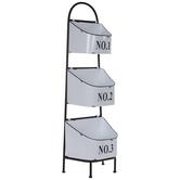 Distressed White Three-Tiered Basket Stand