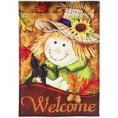 Welcome Scarecrow Garden Flag