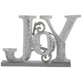 Joy Glitter Metal Decor