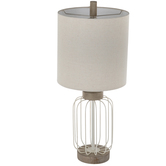 White Wire Cage Metal Lamp