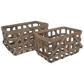 Brown Wood Basket Set