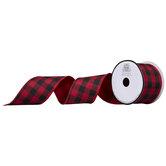 "Red & Black Buffalo Check Reversible Wired Edge Ribbon - 2 1/2"""