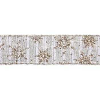 "Gold Glitter Snowflake Striped Wired Edge Ribbon - 2 1/2"""