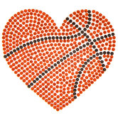 Basketball Heart Rhinestone Iron-On Applique