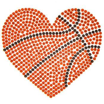Basketball Heart Rhinestone Iron-On Applique