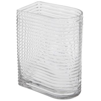 Rounded Horizontal Ridges Glass Vase