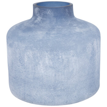 Blue Frosted Glass Vase