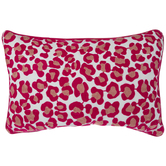 Pink Embroidered Leopard Print Pillow