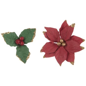 Poinsettias & Holly Glitter Embellishments