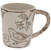 Cream Birds & Berries Mug