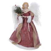 Red Winter Angel Tree Topper