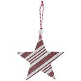 Red Glitter & White Striped Star Ornament