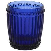 Blue Beaded Stemless Glass