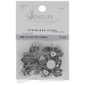 Stainless Steel Flat Pad Earrings With Clutch Backs - 8mm