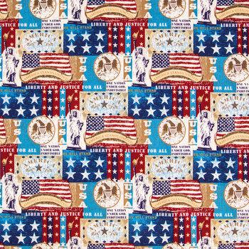 Patriotic Patchwork Cotton Calico Fabric