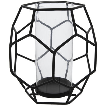 Black Geometric Wire Candle Holder
