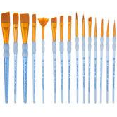 Golden Taklon Paint Brushes - 15 Piece Set