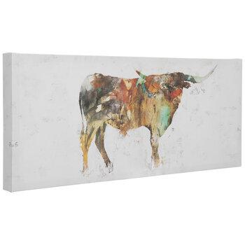 Orange & Green Steer Canvas Wall Decor