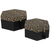 Leopard Print Hexagon Wood Box Set