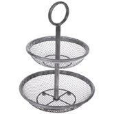Antique Silver Mesh Two-Tiered Metal Tray