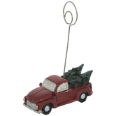 Red Farm Truck With Christmas Trees Place Card Holder