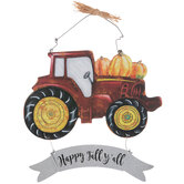 Happy Fall Y'all Tractor & Pumpkins Wood Wall Decor