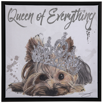 Queen Of Everything Yorkie Canvas Wall Decor