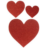 Red Glitter Heart Cut-Outs