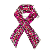 Pink Survivor Ribbon Rhinestone Brooch
