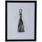 Black Tassel Framed Wall Decor