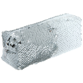 White & Silver Sequin Pencil Pouch