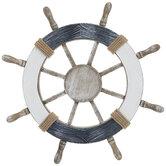 Whitewash Ship Wheel Wood Wall Decor