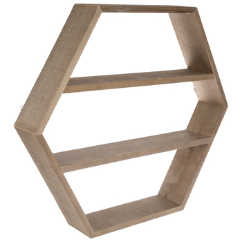 Hexagon Four-Tiered Wood Wall Shelf
