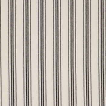 Beige & Black Ticking Striped Duck Cloth Fabric
