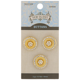 Gold Rhinestone Shank Buttons - 18mm