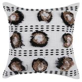 Black & Tan Pom Pom Pillow
