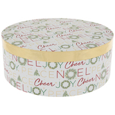 Christmas Sayings & Wreaths Round Box