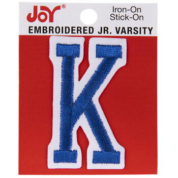 Blue Junior Varsity Letter Iron-On Applique K - 2""